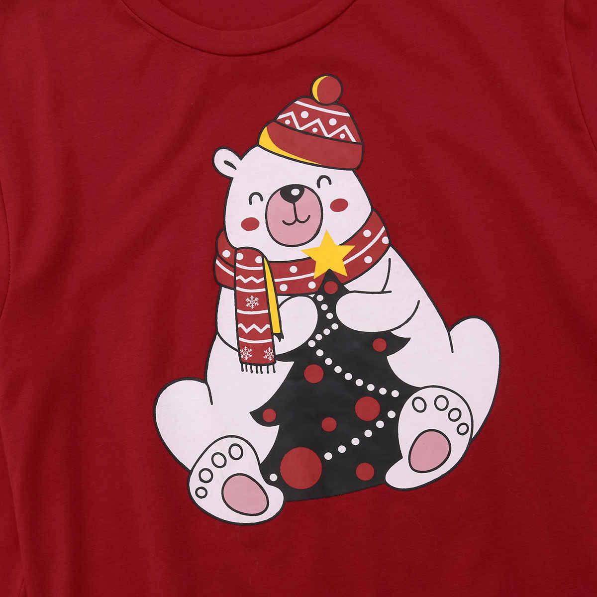 クリスマス家族マッチング女性男性子供トレーナーセーター家族かわいいクマクリスマス Tシャツ服