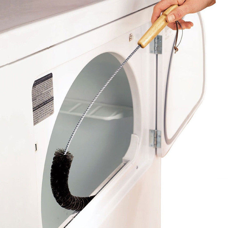 1pc Clothes Dryer Lint Vent Trap Cleaner Brush Gas Electric Fire Refrigerator Black Foldable Long Washing Machine Home Brush image