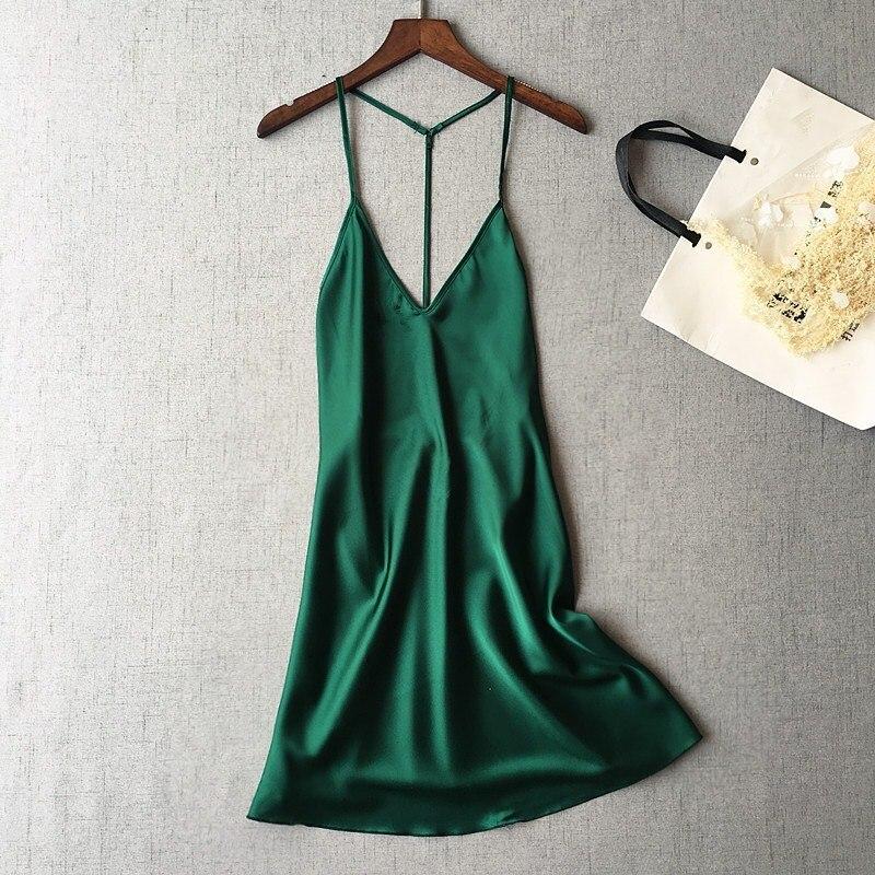 Fashion Women Sexy Sleeveless Mini   Sleepshirts   Summer Female Spaghetti Strap Solid   Nightgowns