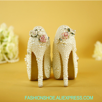 women shoes Elegant wedding shoes female hand high heels pearl flower white princess bride rite number with diamond thick