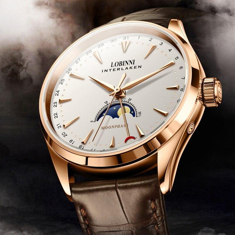 Lovinni 스위스 남자 시계 럭셔리 브랜드 문 단계 자동 기계 남자 시계 사파이어 가죽 relogio masculino L16012 1-에서기계식 시계부터 시계 의  그룹 1