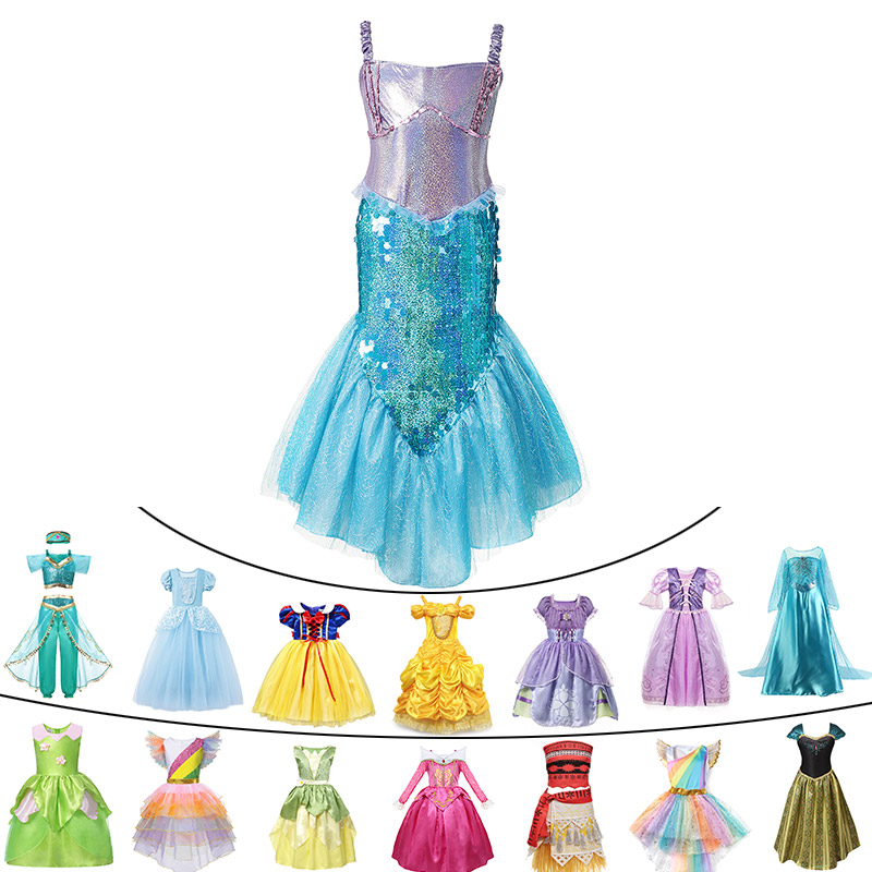 deluxe baby girls summer princess mermaid cinderella dress tinkerbell jasmine halloween elsa cosplay costume child unicorn party nooncart nooncart