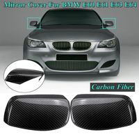 1 Pair ABS Carbon Fiber Look Side Rearview Wing Mirror Cover Caps for BMW E60 E61 E63 E64 2003 2004 2005 2006 2007 2008
