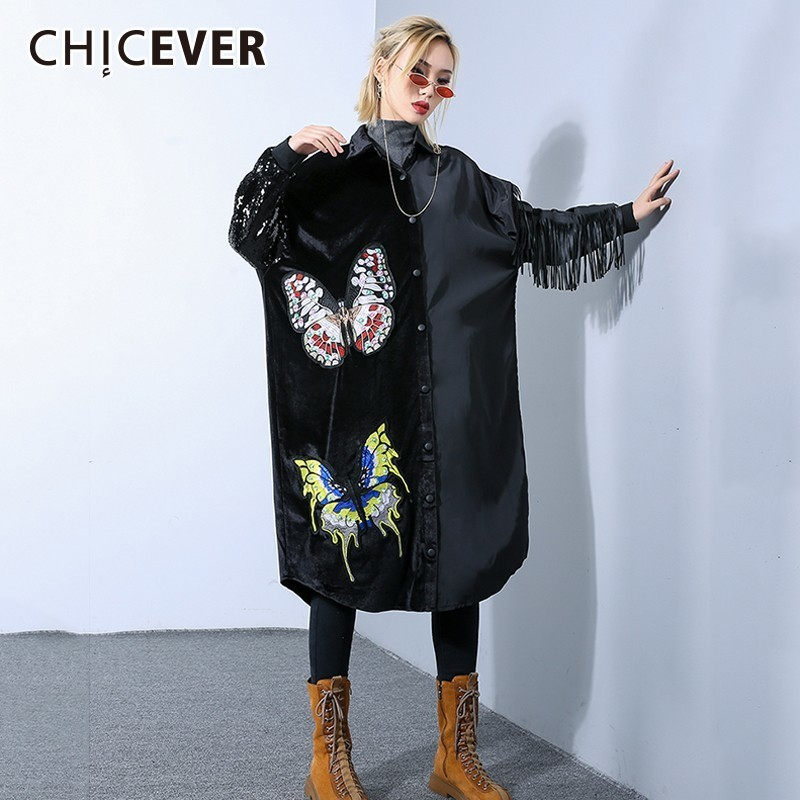 CHICEVER 2019 Spring Autumn Embroidery Dresses For Women Lapel Batwing Sleeve Tassel Dress Fashion Casual Clothes