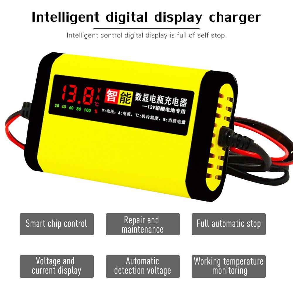 Cargador de batería de la motocicleta del coche 12 V 12 V 2A automática completa 3 etapas de ácido de plomo AGM GEL inteligente pantalla LCD de carga de coche accesorios