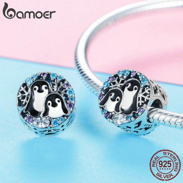 BAMOER zima kolekcja 925 Sterling Silver Penguin Family koraliki Animal Charms Fit Charm bransoletki & naszyjniki Biżuteria SCC992