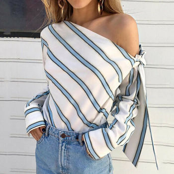 Summer Fashion Women Casual Loose Striped Off Shoulder Long Sleeve Blouse Tops Bowknot Blouse cold shoulder striped flounce blouse