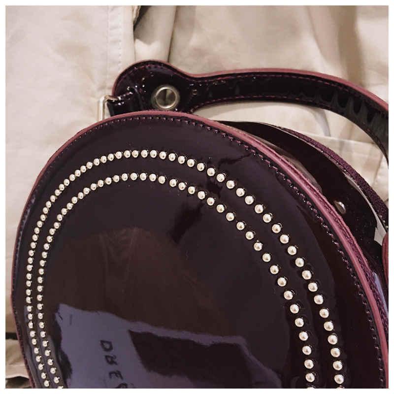 Роскошная лакированная кожа, женская маленькая круглая сумка, модная сумка с клепками, женские сумки, женские повседневные сумки через плечо с цепочкой, яркие Bolsa