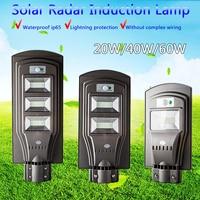 20W/40W/60W LED Solar Power Street Light PIR Motion Sensor Wall Light Waterproof Outdoor Garden Road Pathway Lamp