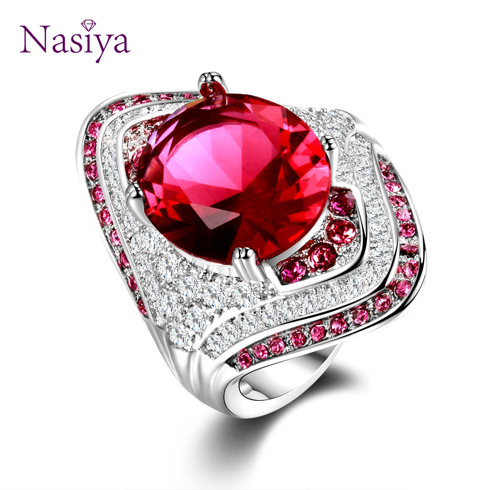 Genuine Unique Austrian 925 Sterling Silver Ring With Ruby Stones For Women Vintage Crystal Fashion Luxury Wedding Party Jewelry