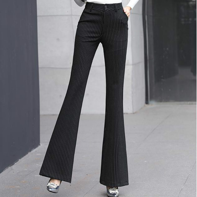 New 2019 Korean Style Women Harajuku Velvet Streetwear Stripe Corduroy High Waisted Plus Size Fashions Straight Pants