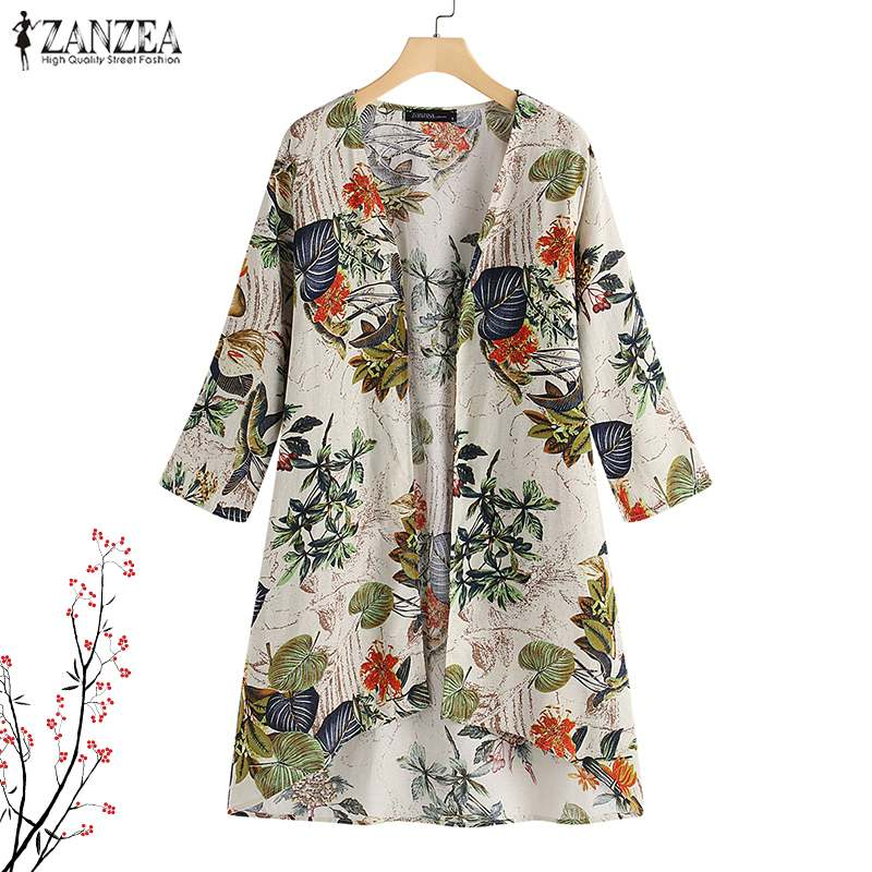 Women's Clothing Oversized Tunic Tops Zanzea Floral Print Cardigan For Women Vintage Blouse Femme 3/4 Sleeve Shirt Chemise Beach Kimono Cape 5xl Removing Obstruction