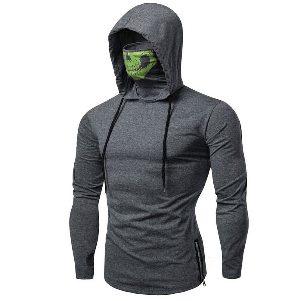 Men Solid High Collar Hooded Sweatshirt Winter Mask Skull Pure Color Pullover Tops Long Sleeve Hoodies Sweatshirt Tops