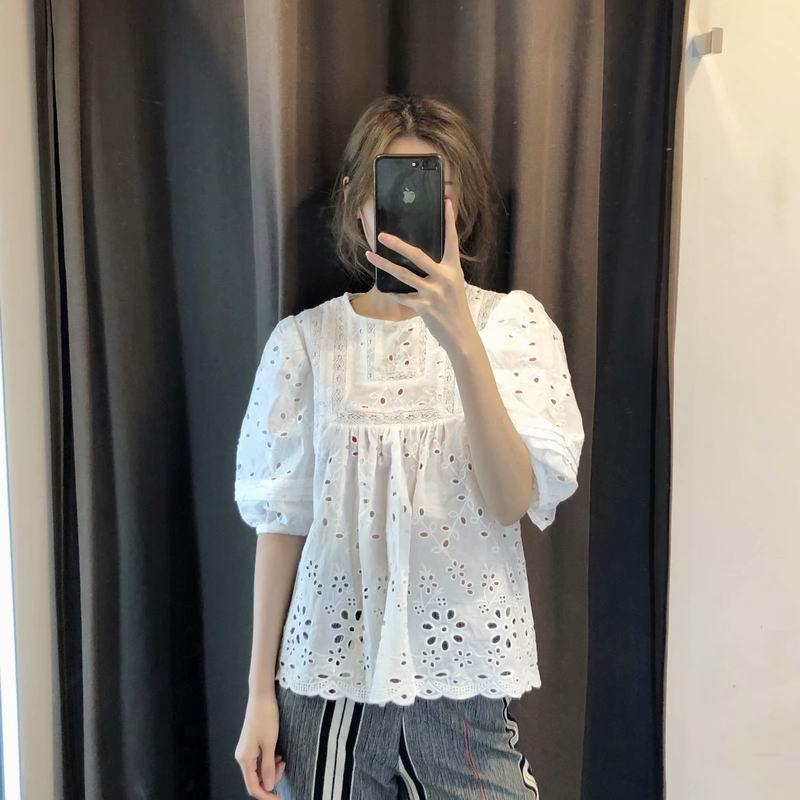 Summer 2019 Women Lace   Shirts   White Cotton Hollow Out Floral Embroidery Pattern Preppy Girl Tops Za Style Female   Blouse     Shirt