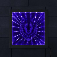 Wolf Head Infinity Mirror Wolf Portrait LED Lighted Picture Frame Wildlife Wolf Lighting Decor Animated Neon Light Tunnel Lamp