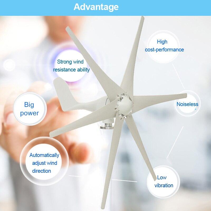 800W 12V 24 V 48 Volt Horizontal Home Wind Turbine 6 Nylon Fiber Blade Wind Generator Power Windmill Energy Turbine Charge