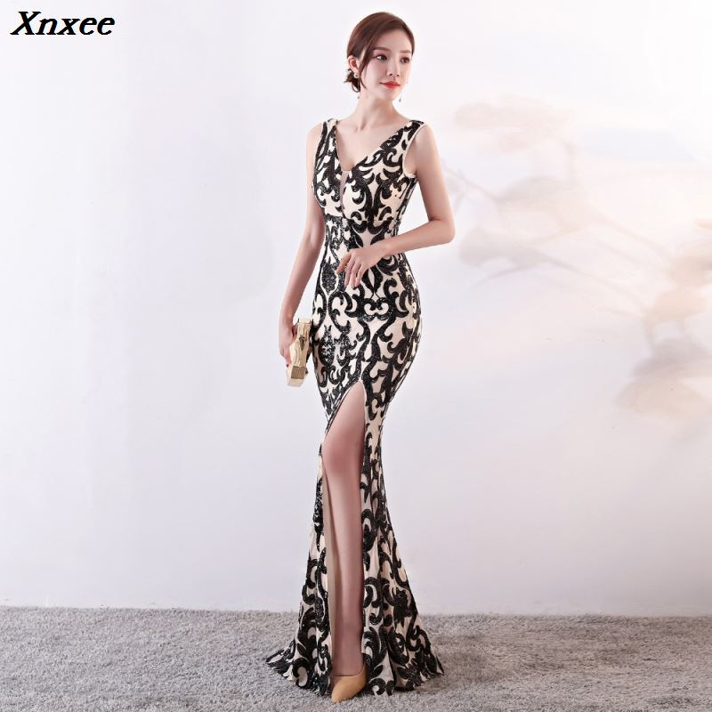 Xnxee Black Sequined Beige Sexy Deep V Sleeveless Long Mermaid Side Slit Nightclub Dress Celebrity Elegant