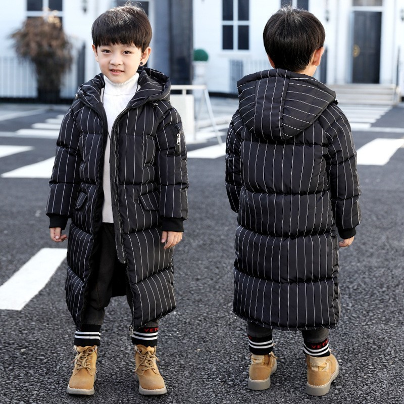 все цены на black striped long hooded padded boys winter parkas clothing kid cotton thick long sleeve jacket clothes children outerwear tops