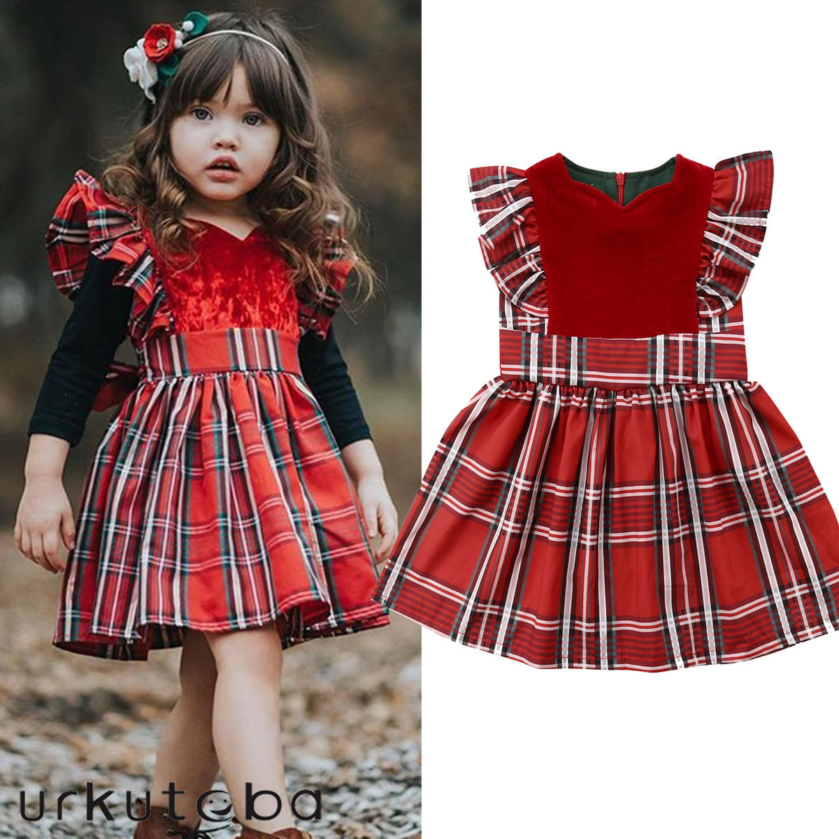 England Style Vintage Kids Baby Girls Red Plaid Dress Fly