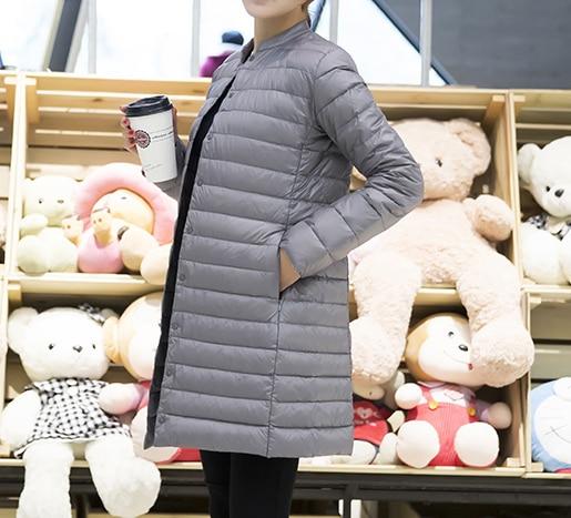 Woman Spring Padded Warm Coat Ultra Light Duck Down Jacket Long Female Overcoat Slim Solid Jackets Winter Coat Portable Parkas 4
