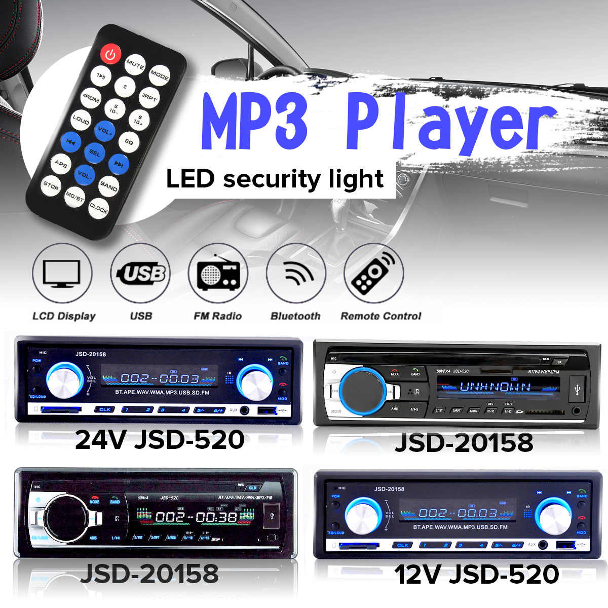 "4,3 ""24 v del coche de bluetooth de Audio 1 DIN EN Dash entrada Aux USB SD MP3 FM Radio Player JSD-520 apoyo MP3/WMA/WAV/APE"