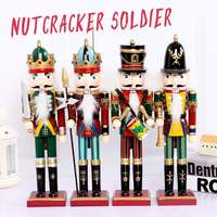 4Pcs/set 30CM Solid Wood Nutcracker Soldiers Gift Set Classic Hand Painting Doll Great Decoration for Office Home Christmas