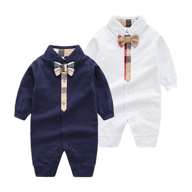 2019 Baby onesies spring and autumn fashion British style gentleman bow baby boy romper  newborn cotton baby girl clothes