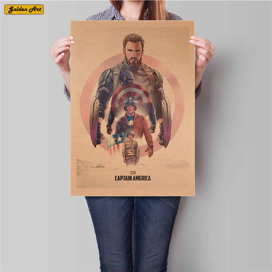 Captain America print picture movie kraft paper posters living room bar cafe decoration bar cafe painting 45.5x31.5cm
