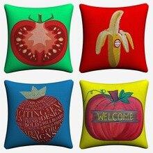 Simple Fruit Artwork Minimalist Decorative Cotton Linen Cushion Cover 45x45cm Throw Pillow Case For Sofa Home Decor Almofada цены