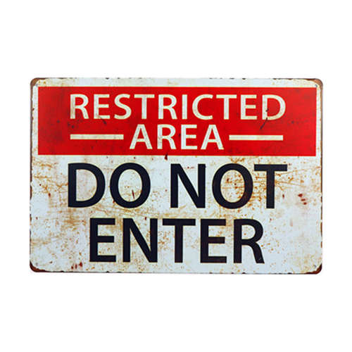 Vintage Home Decor Restricted Area Retro Signs Vintage Metal Sign  Wall Art  for Garage Pub Cafe Wall Sticker 20*30 CM signs