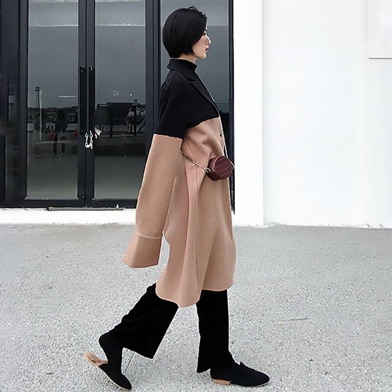 2019 Camel Couleur Mode Printemps En Jo051 À Hiver Marée Femmes Personnalité Revers Nouveau Parkas Lâche Hit eam Manches Manteau Chameau Longues Laine 1Uqxwd1