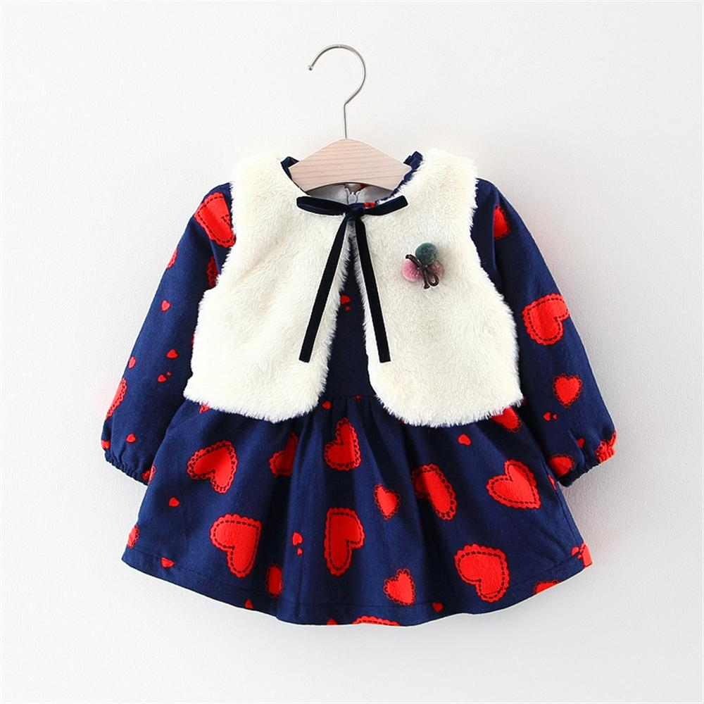 Autumn and Winter Baby Girls Dress 2018 A- Line 0 - 2 Years Old Love Pattern Cotton Dress + Vest Shawl Coat Two-Piece Suit Dress