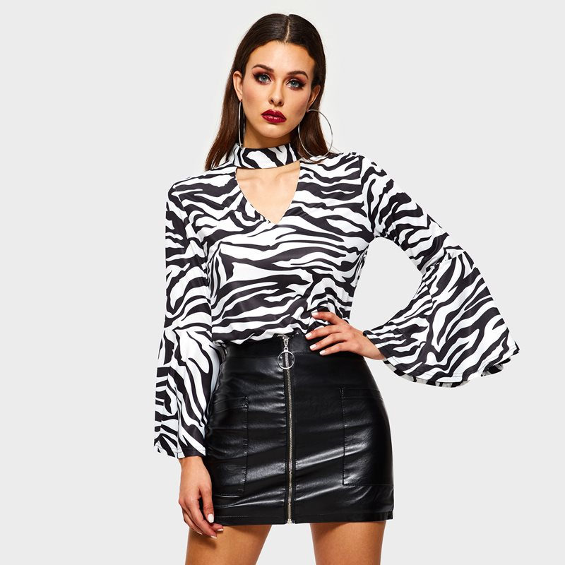 Sisjuly Women Vintage Black Zebra Stripe   Blouse     Shirts   Top Slim Flare Sleeve Halter Deep V Spring Summer Female Retro   Shirt   Tops