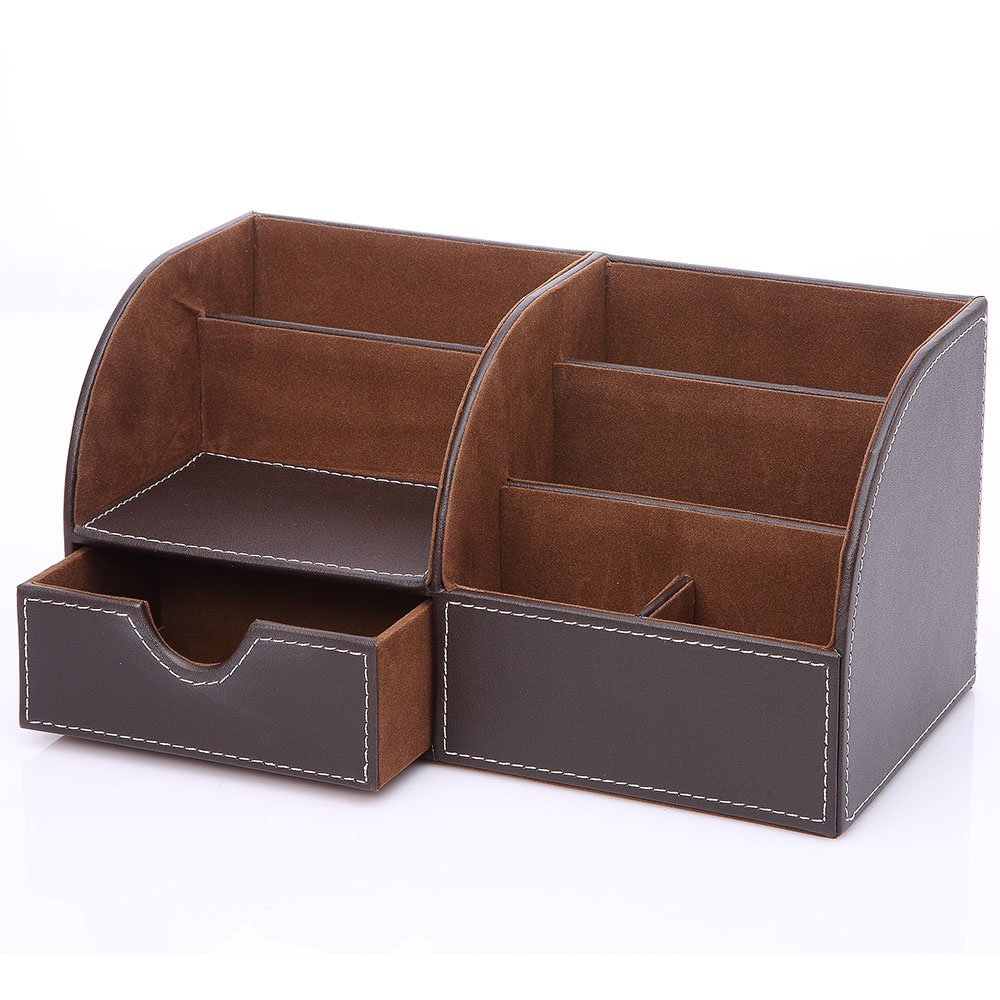 7 Storage Compartments Multifunctional PU Leather Office Desk Organizer,Business Card/Pen/Pencil/Mobile Phone /Remote Control