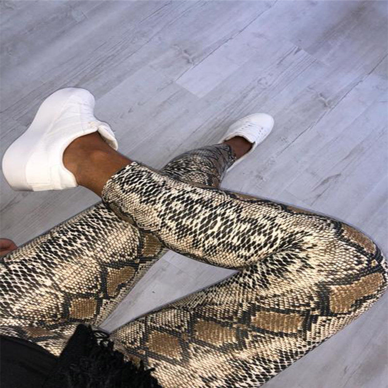 vogue women sexy skinny leopard snakeskin print black leather   leggings   pants fashion female high waist slim   legging   pencil pants
