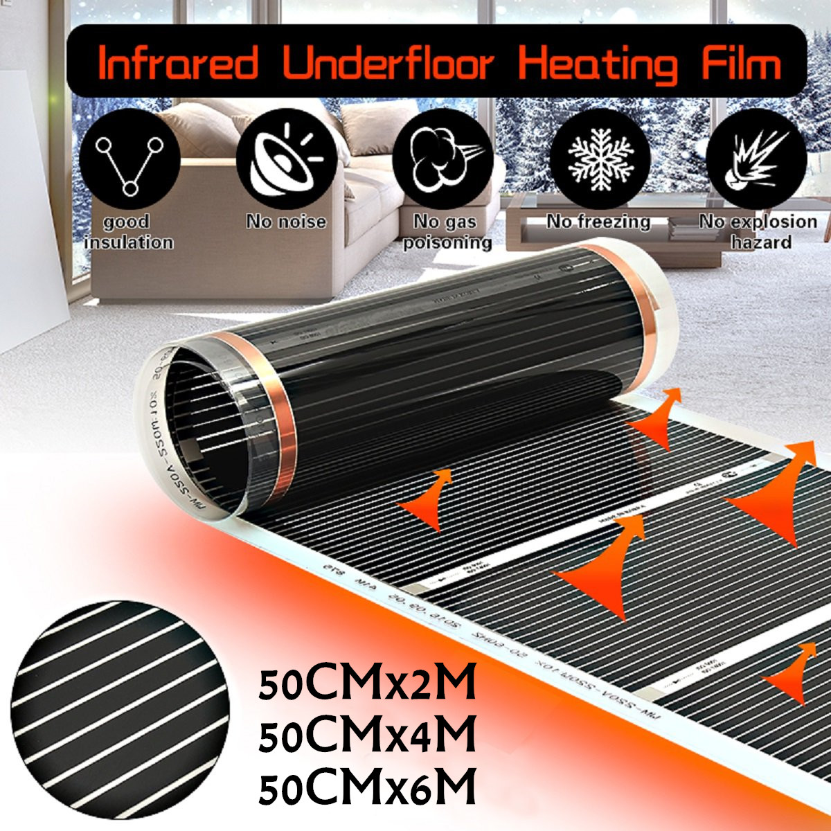 2M~6M 50CM Far Infrared Electric Floor Heating Films Underfloor Electric Heating Warm Film Kit Under Laminate/Solid Floor