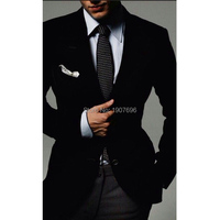 Black Velvet Men Suits Jacket Winter Peaked Lapel Smart Casual Prom Evening Party Blazer Tailor Made Men Suit