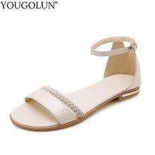 Damskie sandały na płaskim obcasie nowa dostawa damskie letnie obuwie seksowna kobieta biała czarna beżowa kostka z wystającym palcem pasek z klamrą sandał A032