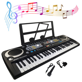 54 Keys Digital Electronic Electric Piano With Keyboard & Microphone Electric Led Adult Size EU Plug US Plug Toy For Kids Gifts