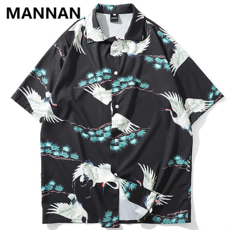 Маньнань японский кран Печатных Пляжные рубашки хип хоп повседневные летние мужские Гавайи Алоха вечерние праздничные рубашки уличная мужская рубашка