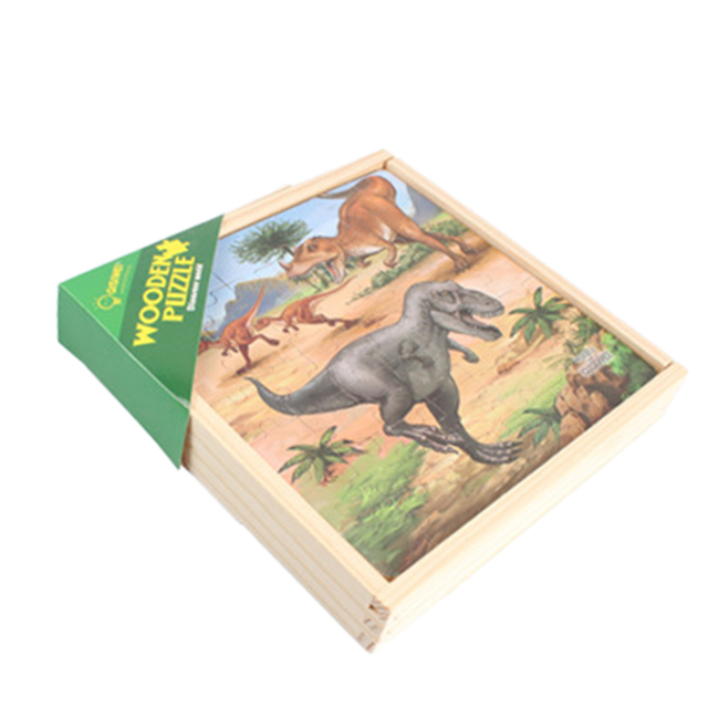 3-In-1 Dinosaur A Theme Wooden Double-Sided Puzzle Assembly Toy For Children Develop Intelligence Early Education Puzzle Toys