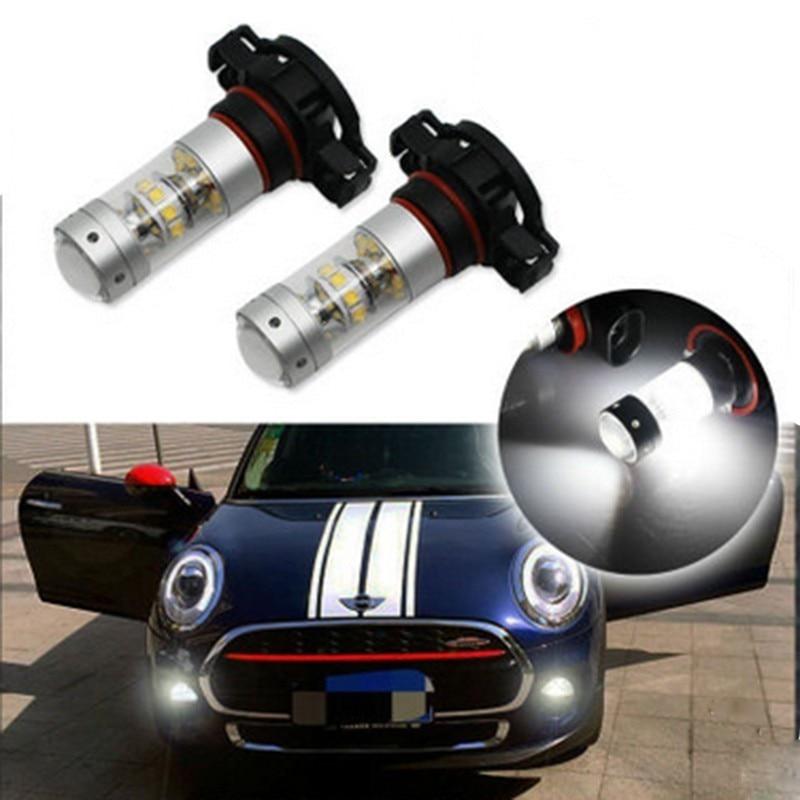 2X автомобиля светодио дный H8 туман лампочки 1600LM 6500 К белый H1 H3 H4 H7 H11 9005/HB3 9006/HB4 1156 H16 противотуманных фар авто вождения луковицы