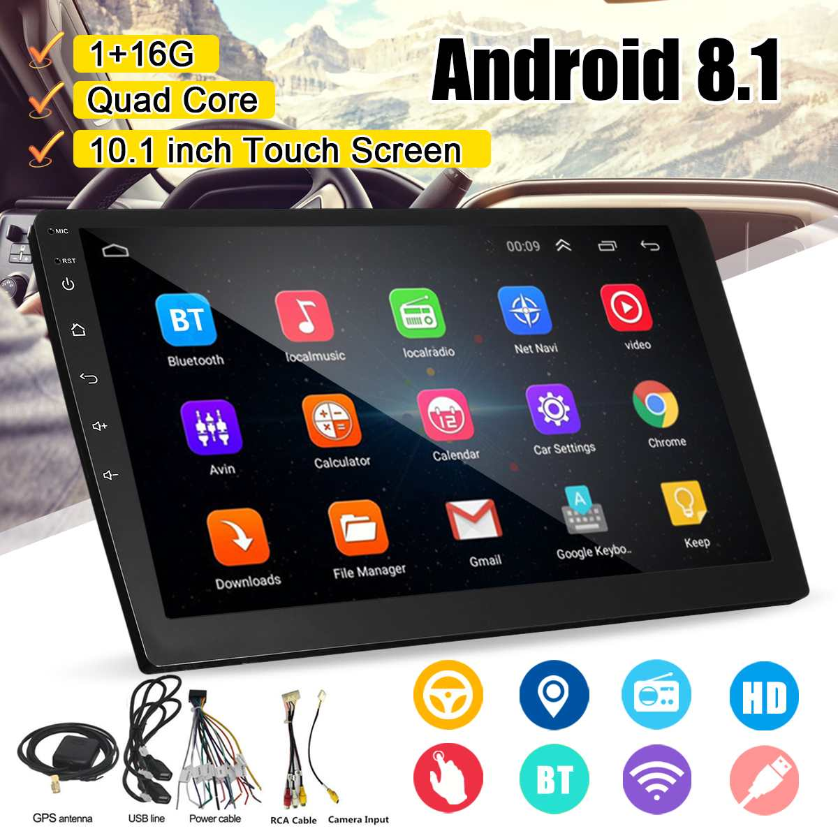 <font><b>10.1</b></font> Inch <font><b>Android</b></font> 8.1 Quad Core 1+16G Car Multimedia Player Car Stereo 2DIN bluetooth WIFI GPS Nav <font><b>Radio</b></font> Video MP5 Player image