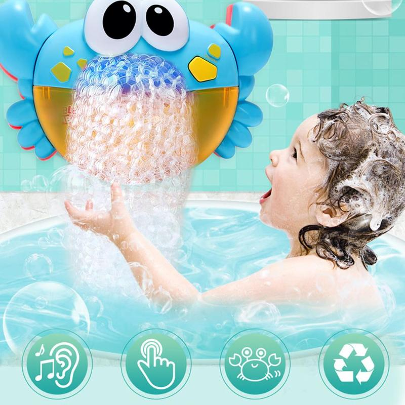 Plastic Cute Cartoon Crab Automatic  Bubble Machine Music Bubble Maker Funny Water One Button Toy Outdoor Blowing Soap Bubbles