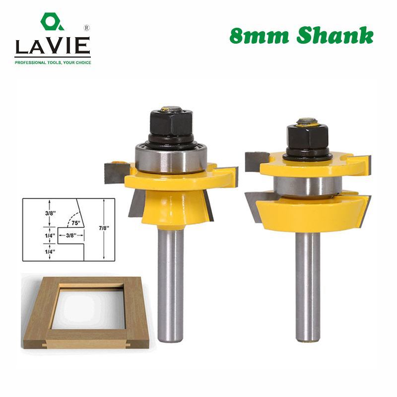 LA VIE 2pcs 8mm Stile & Rail Set-Ogee Router Bit Set Tenon Woodworking Milling Cutter Tungsten Carbide Cutters For Wood MC02057