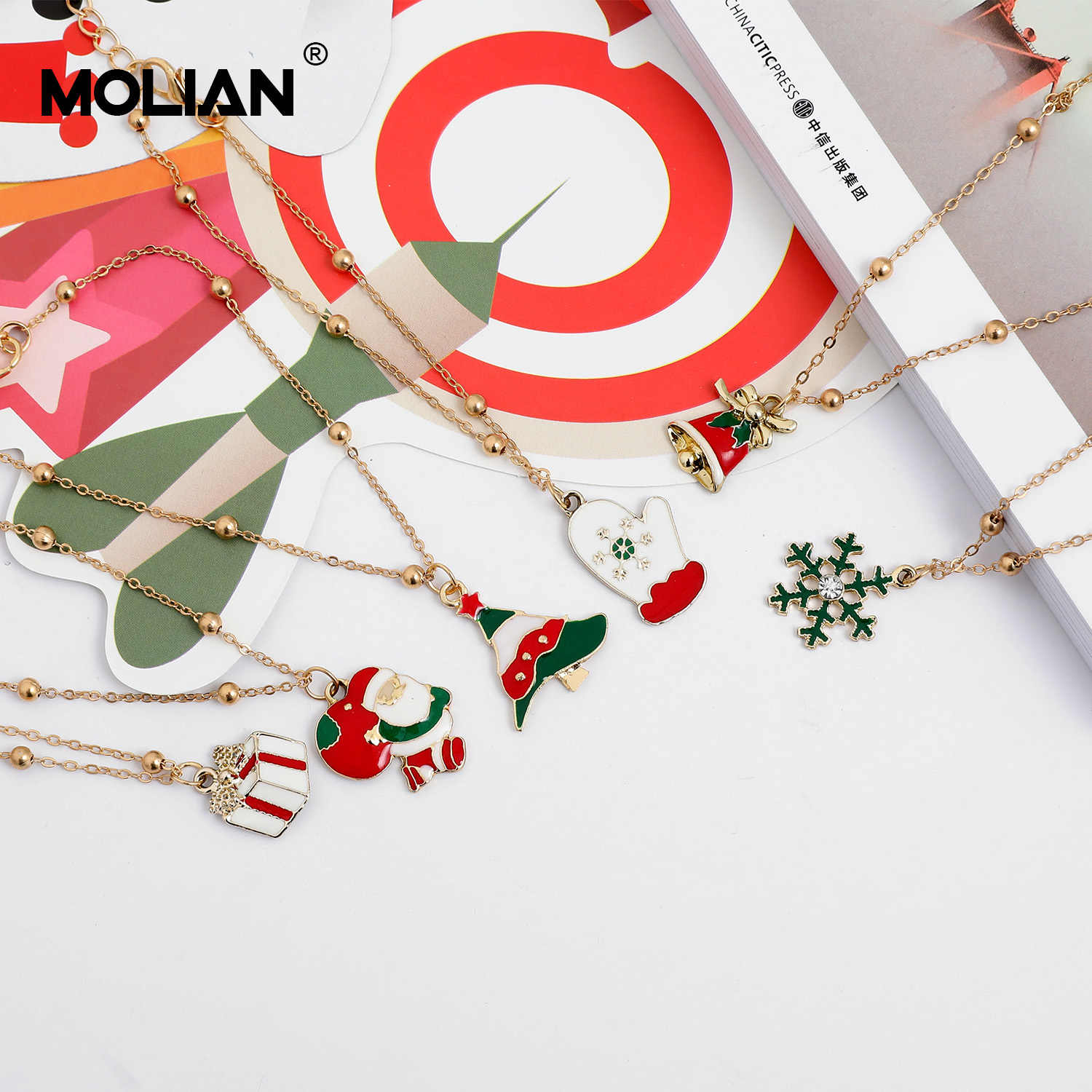 MOLIAN Christmas Bracelet Bangle Christmas tree Anklet Santa Claus Gold Bell jewelry for women snowflake gloves jewellery gifts