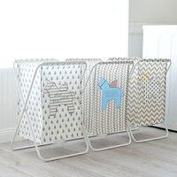 laundry Basket hamper Cartoon Home Shower Room Frame Waterproof Dirty Clothes Basket Decoration IRON Basket organizer