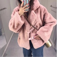 faux fur coat Long teddy coats fur jacket Womens warm plush Imitation Rabbit Overcoat Winter clothes plus size new fashion Femme