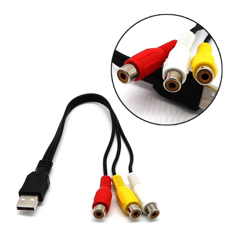 USB Male to 3RCA RGB Female AV Audio Video Composite Cable Cord Adapter Converter Connector Component Lead RCA Cable in Data Cables from Consumer Electronics