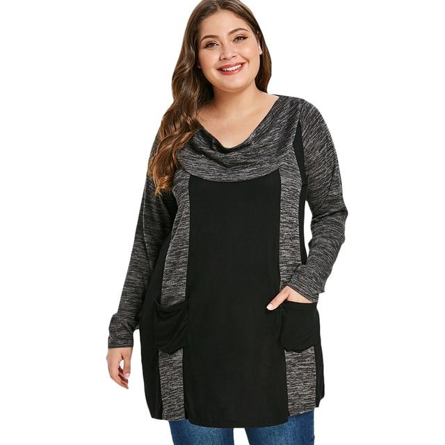416f26e7c4e Wipalo Plus Size Contrast T-Shirt Female Casual Cowl Neck Long Sleeve Double  Pocket T Shirt Women Clothing Big Size Ladies Tops